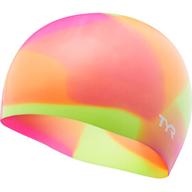 TYR Tie Dye Silicone Swim Cap Juniors Yellow/Pink/Orange
